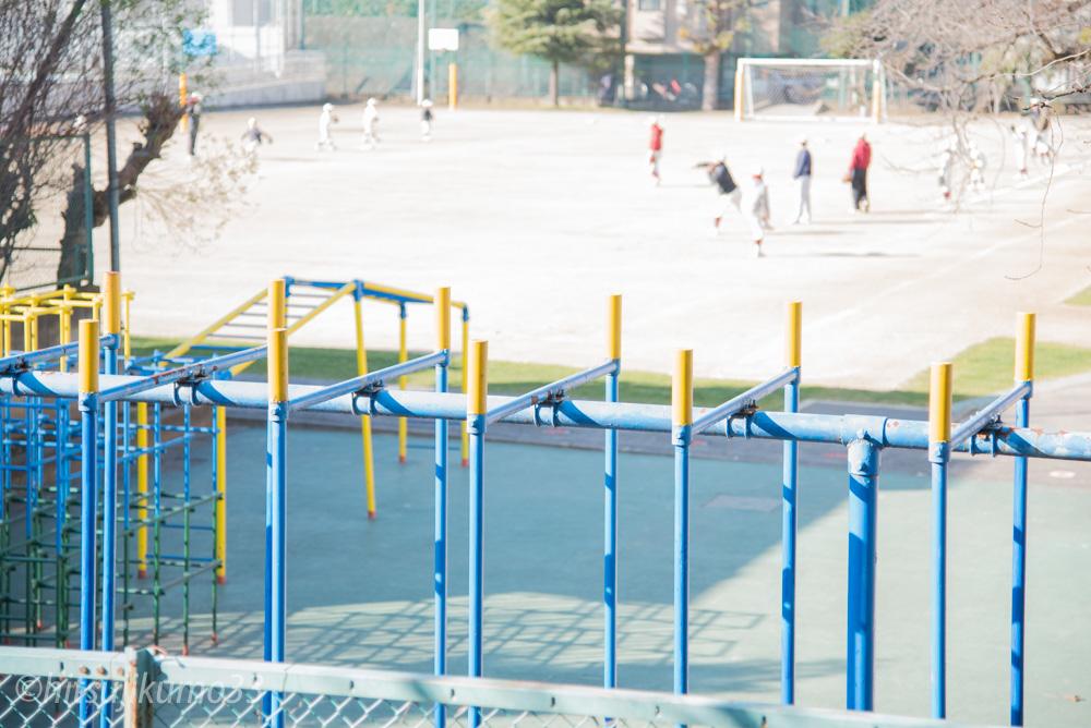 近くの学校では朝から野球の練習